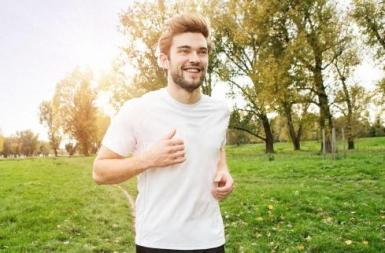 Man jogging happy hour